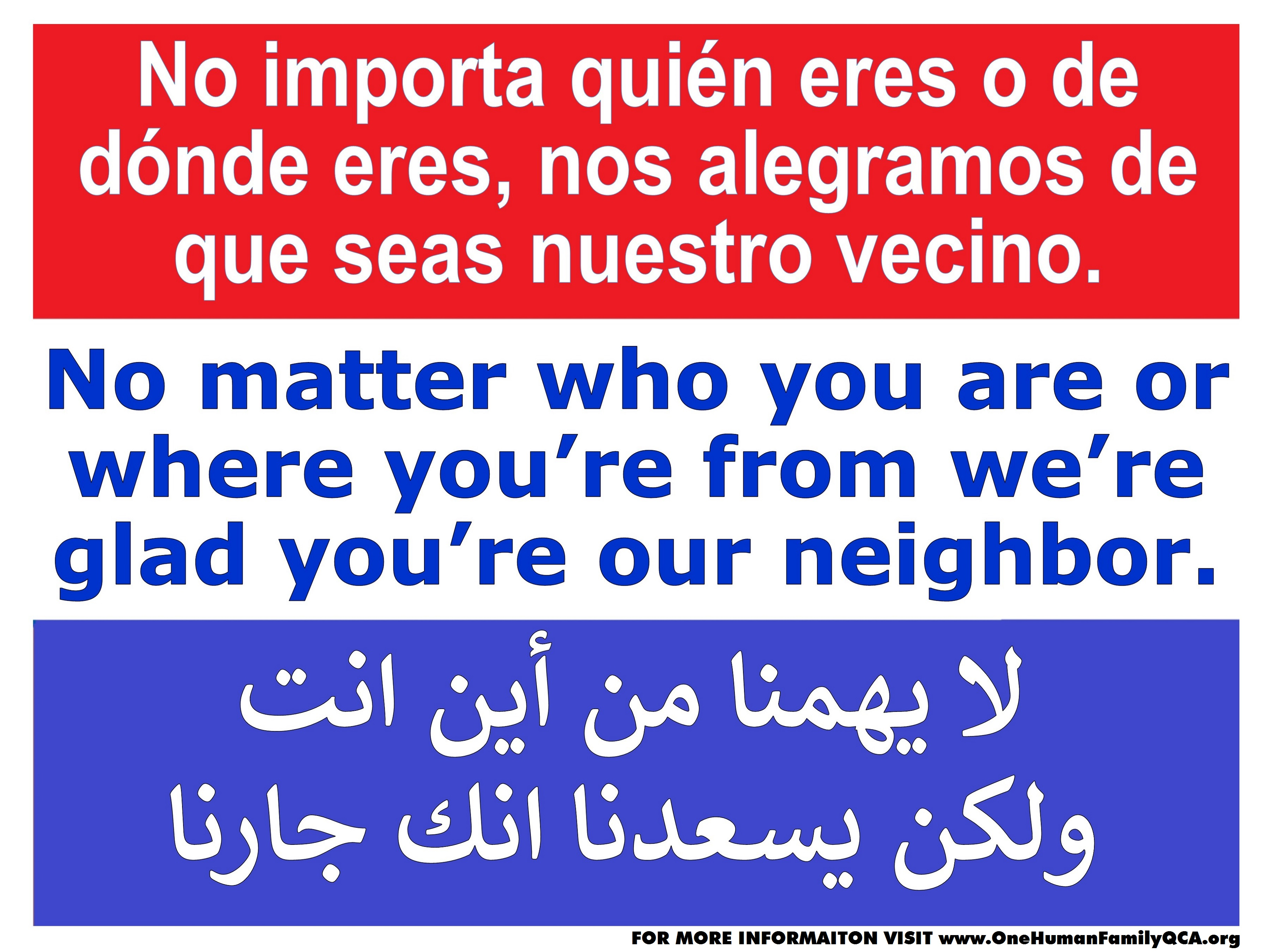 Lawn sign that welcomes neighbors in Spanish, English, and Arabic